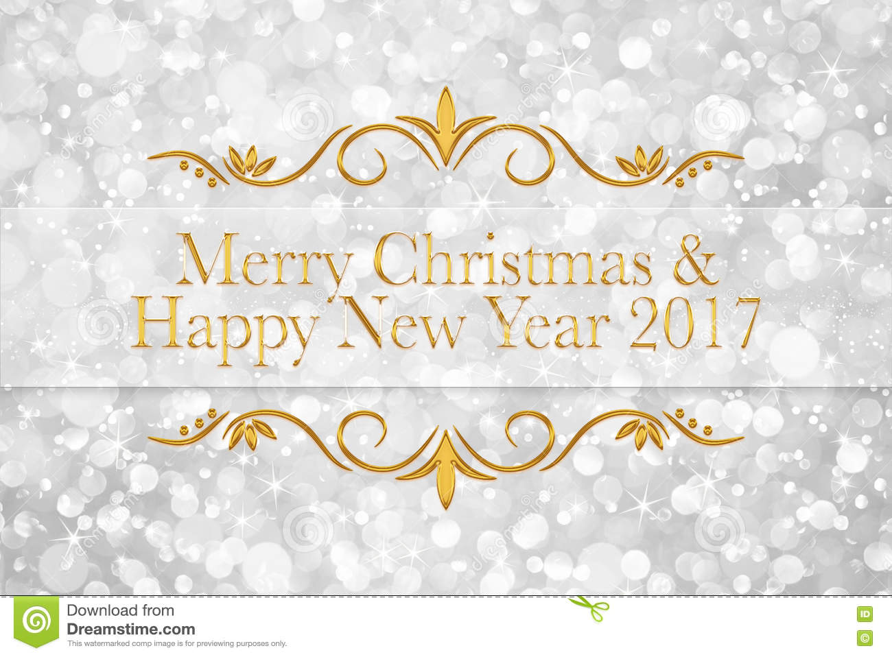 Merry Christmas And Happy New Year 2017 Words On Glitter Bokeh B ...