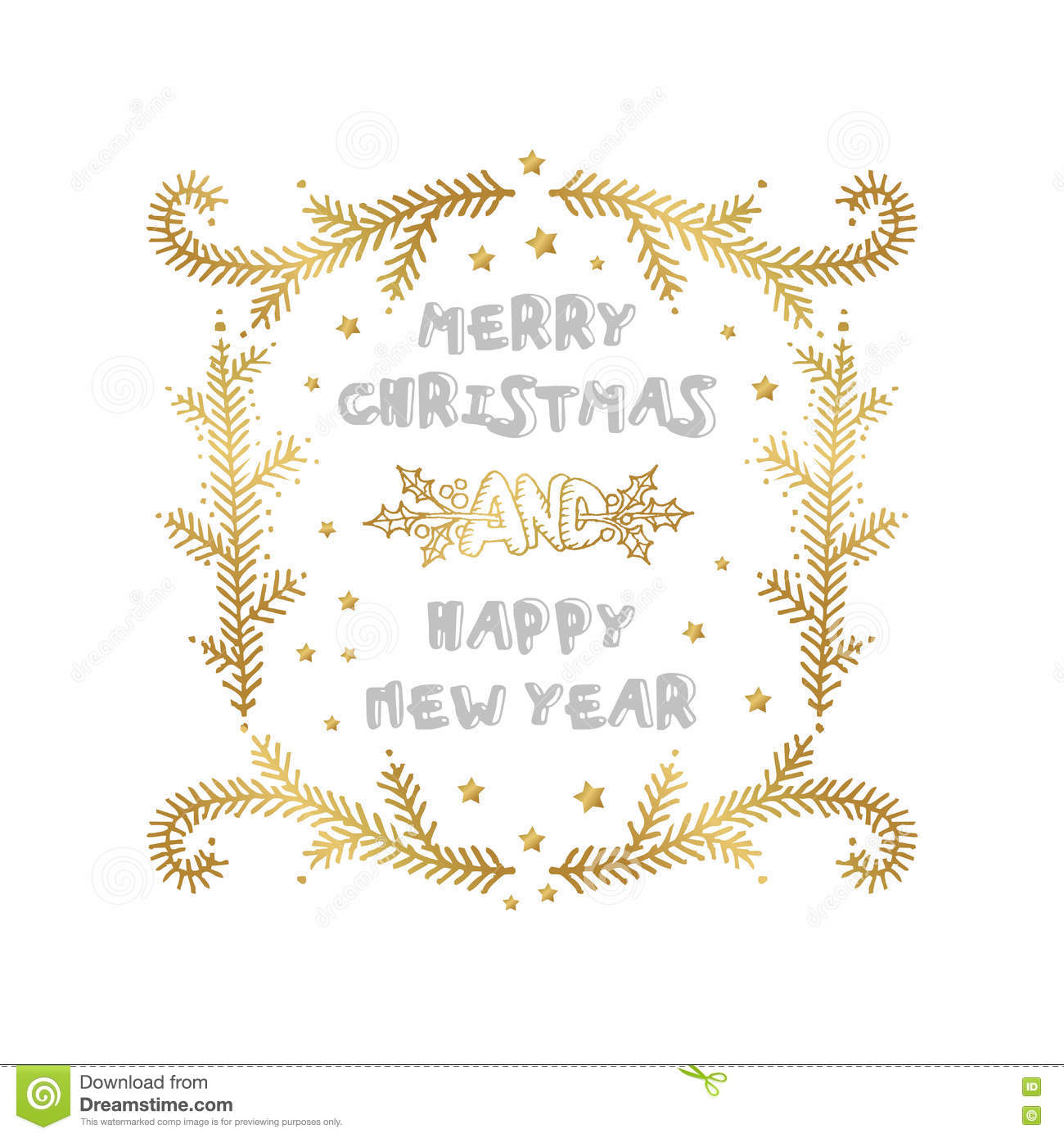 Merry Christmas And Happy New Year Words On White Background Stock ...