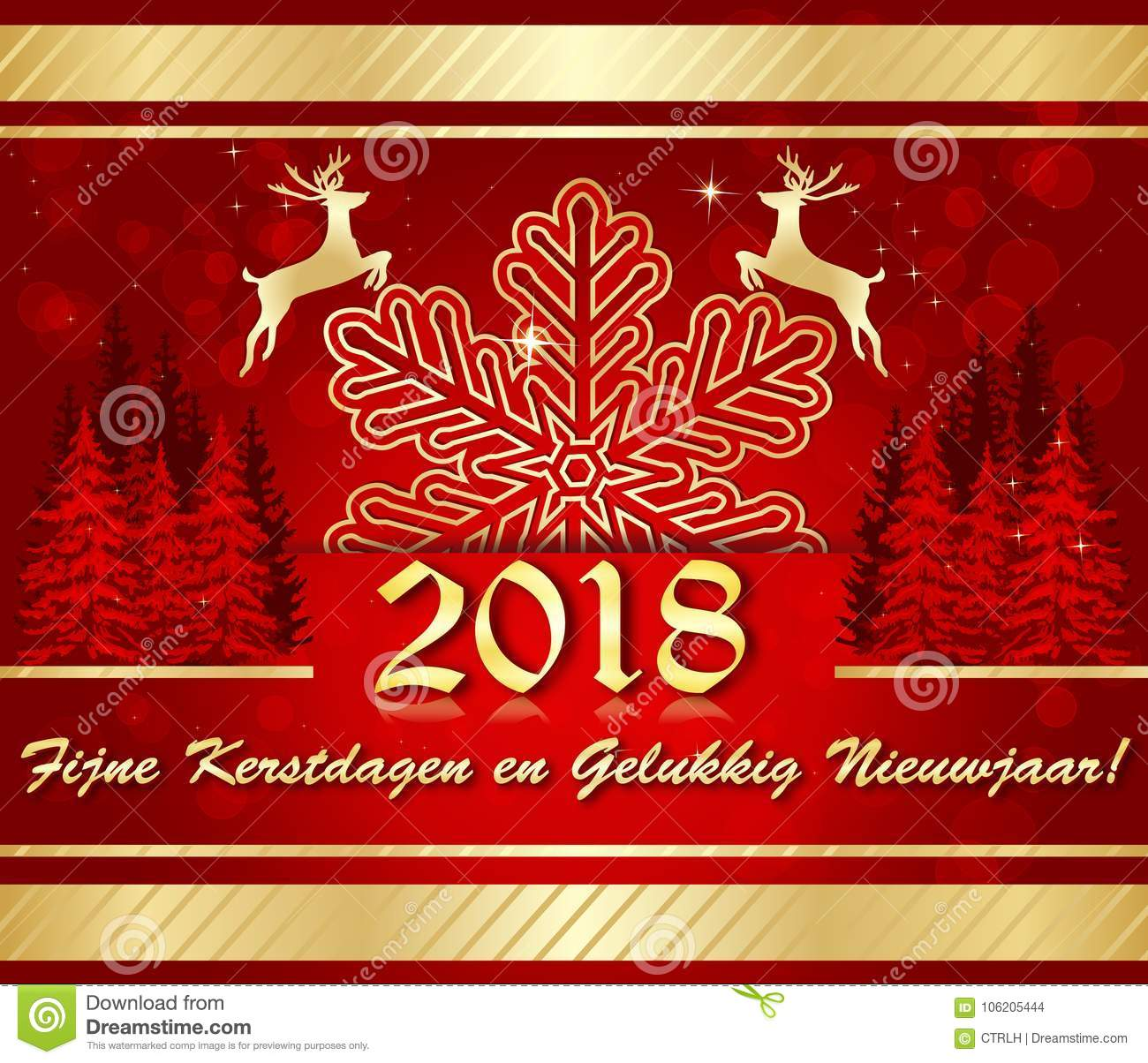 merry christmas and happy new year 2018 written in dutch greeting card