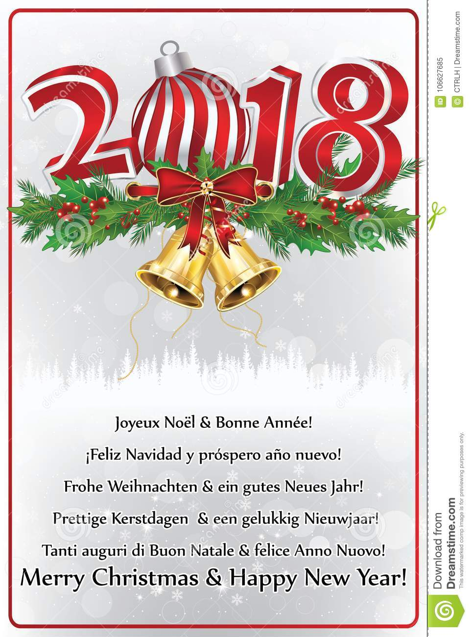 Happy New Year 2018 Written In Many Languages. Greeting Card ...
