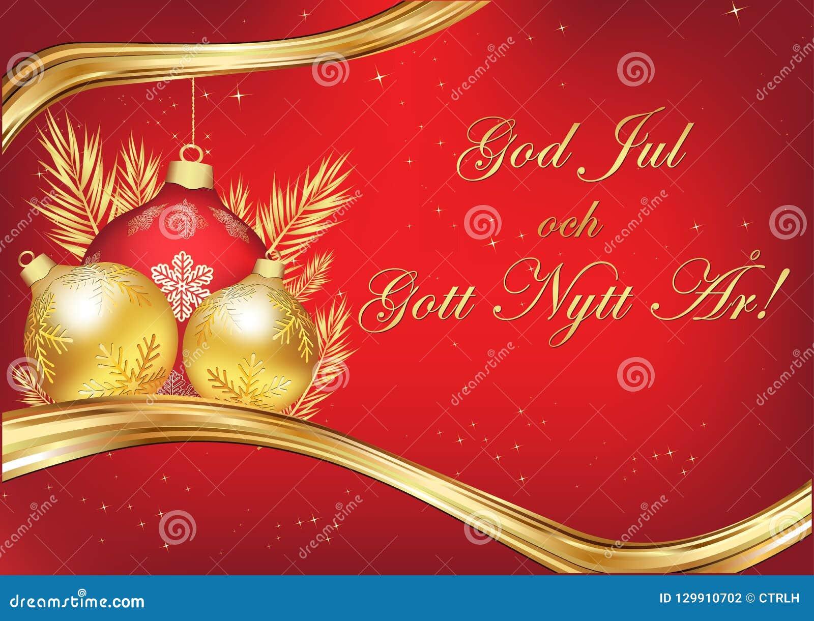 Elegant Merry Christmas And Happy New Year Written In Swedish, Season`s Greeting  Card