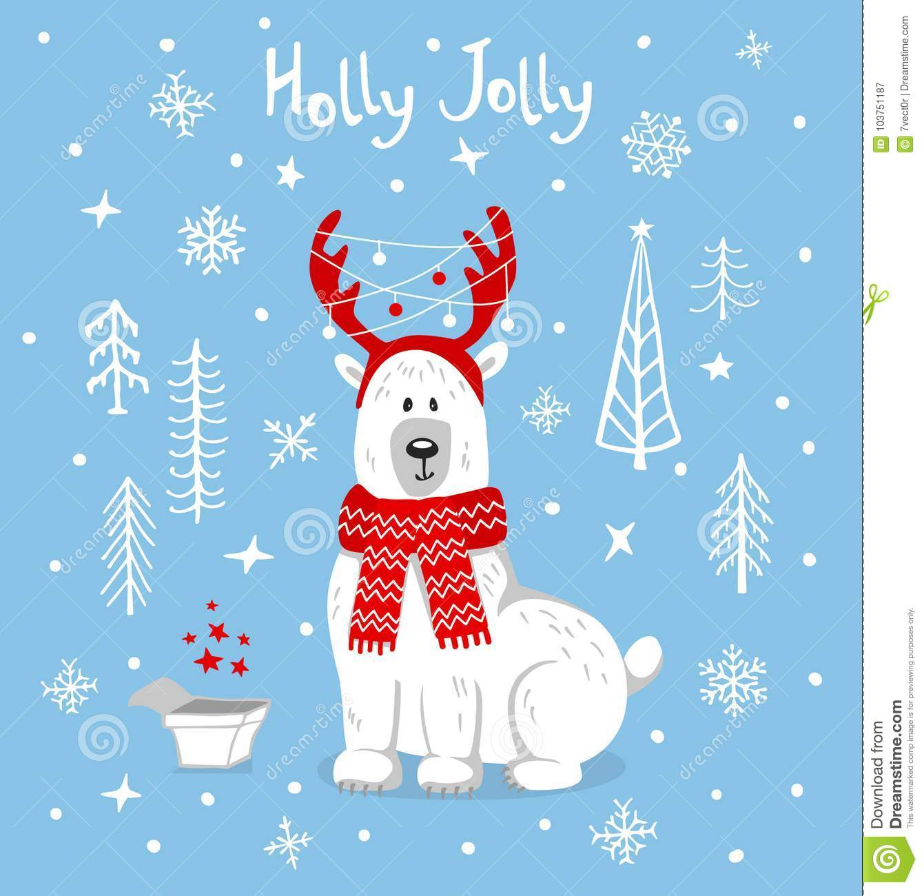 Merry Christmas Happy New Year Xmas Greeting Card With Cute Polar ...