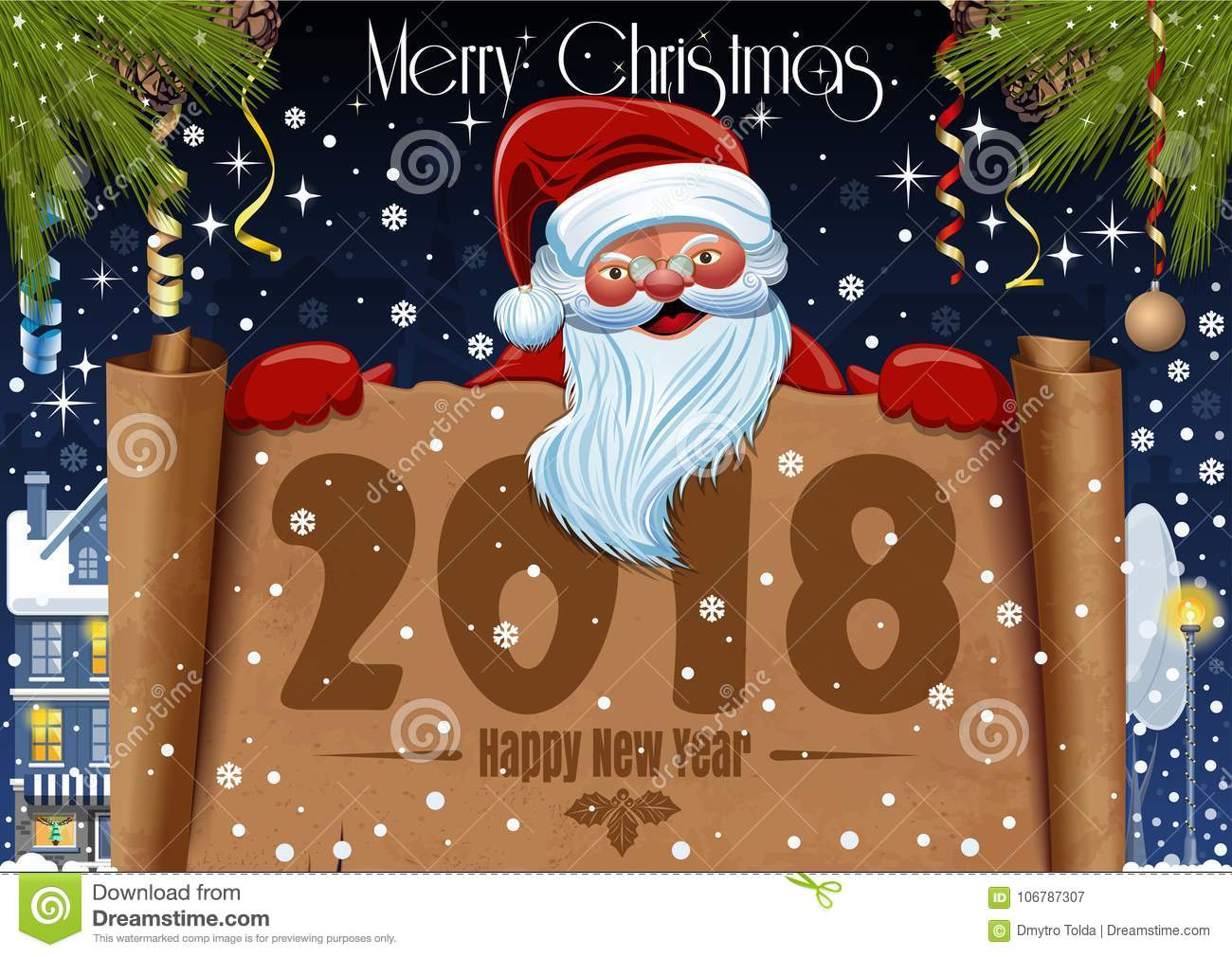 Merry Christmas Poster 2018.Merry Christmas And Happy New Year 2018 Stock Vector