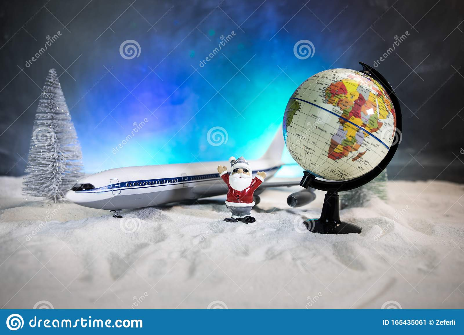 Merry Christmas and Happy new years travel concept background for winter trip on wood background , Travel with airplane top view