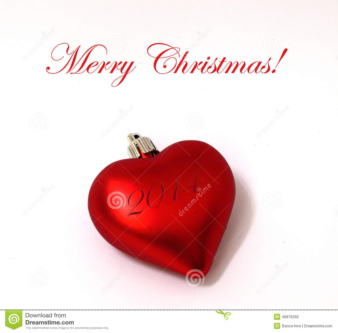 Merry christmas heart ornament stock photo image