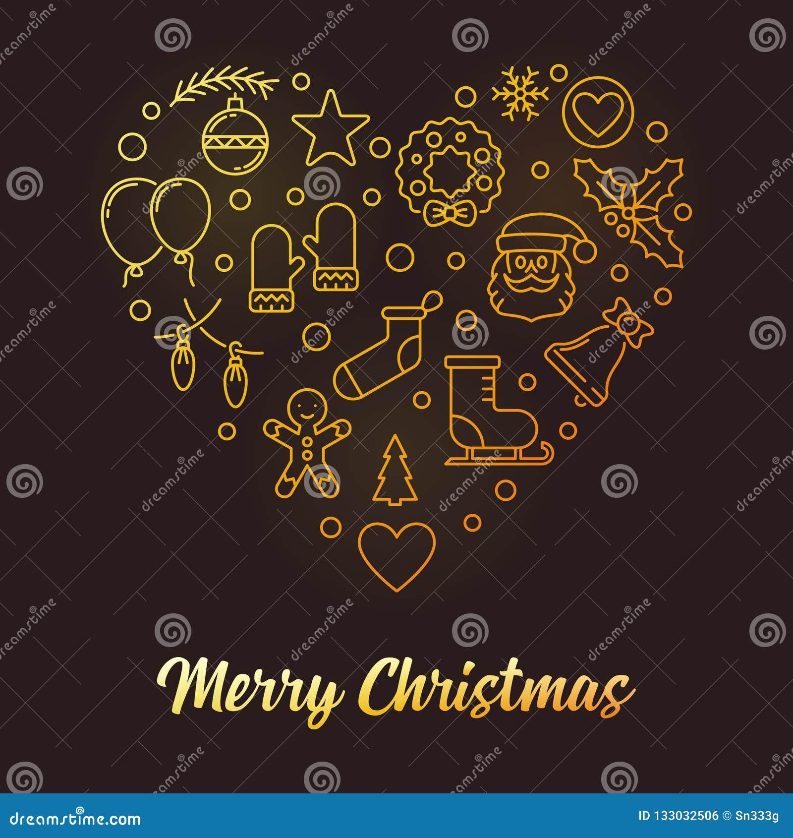 Christmas Heart Vector.Merry Christmas Heart Vector Golden Xmas Line Illustration