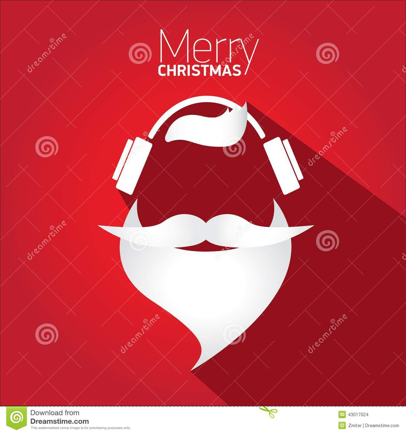 Merry Christmas Hipster Poster For Greeting Card Stock Vector