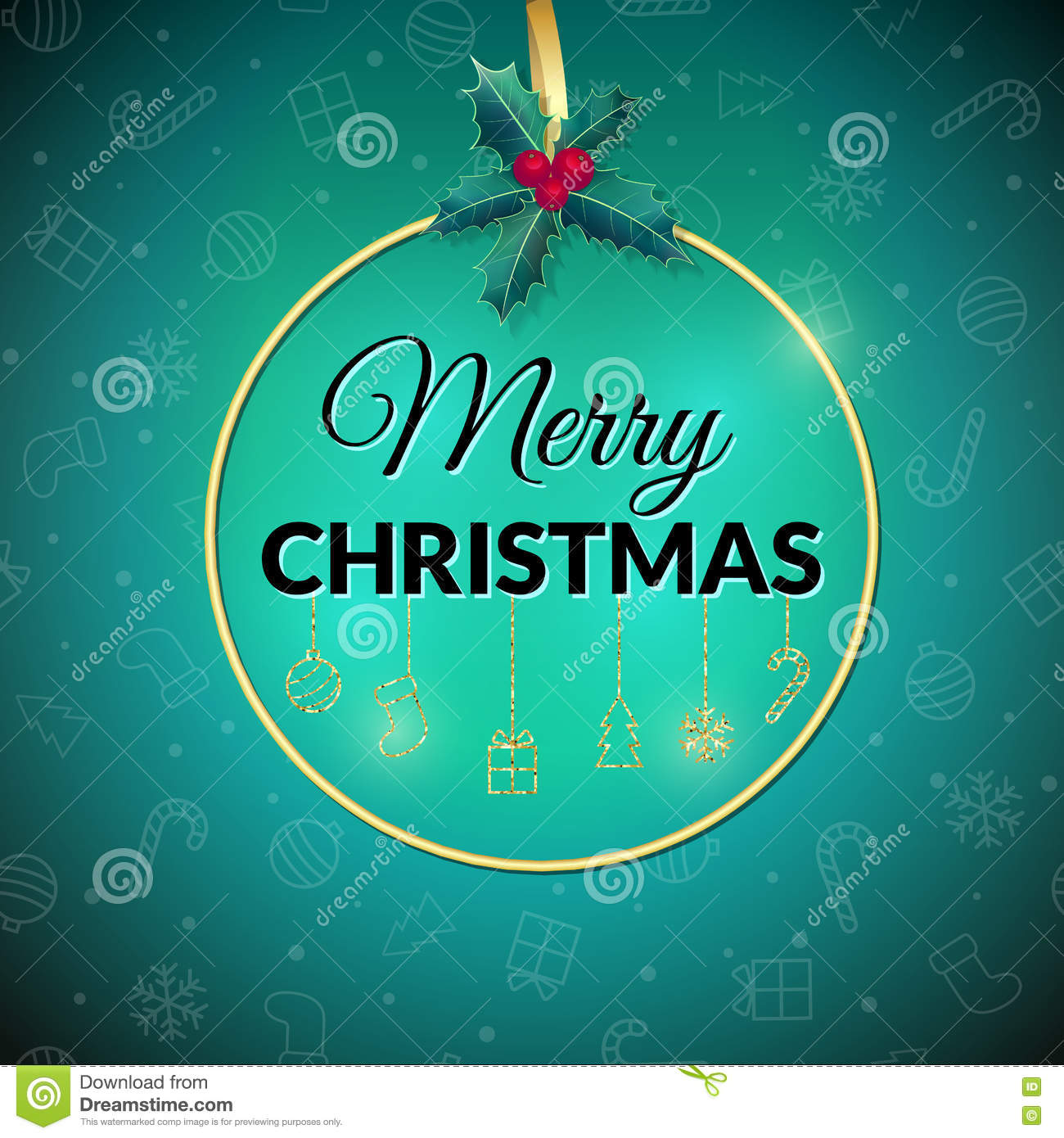 Merry Christmas . Holiday Background. Xmas Greeting Card With Bauble ...