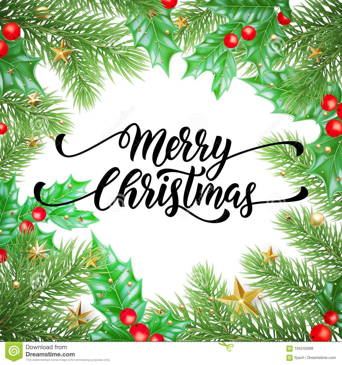 Merry christmas holiday hand drawn quote calligraphy greeting card merry christmas holiday hand drawn quote calligraphy greeting card background template vector christmas stars garland tree holly wreath decoration on maxwellsz