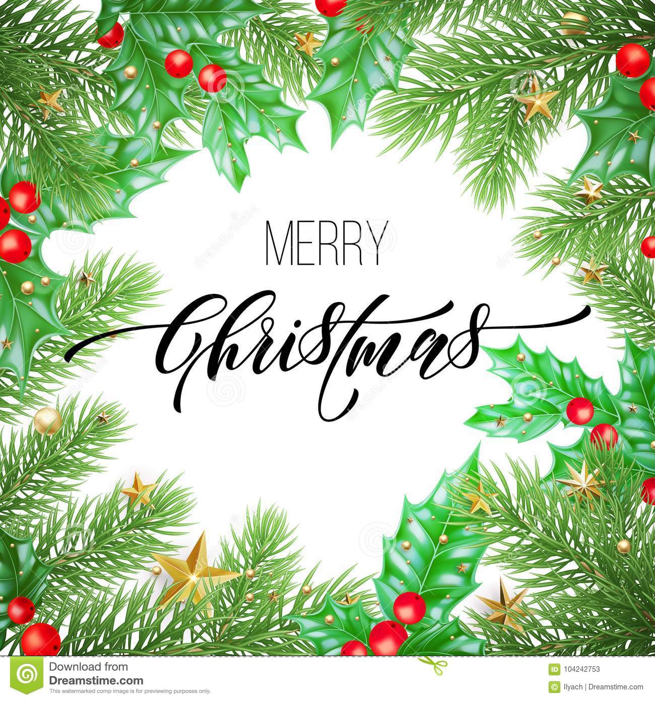 Merry christmas holiday hand drawn quote calligraphy greeting card merry christmas holiday hand drawn quote calligraphy greeting card background template vector christmas stars garland maxwellsz