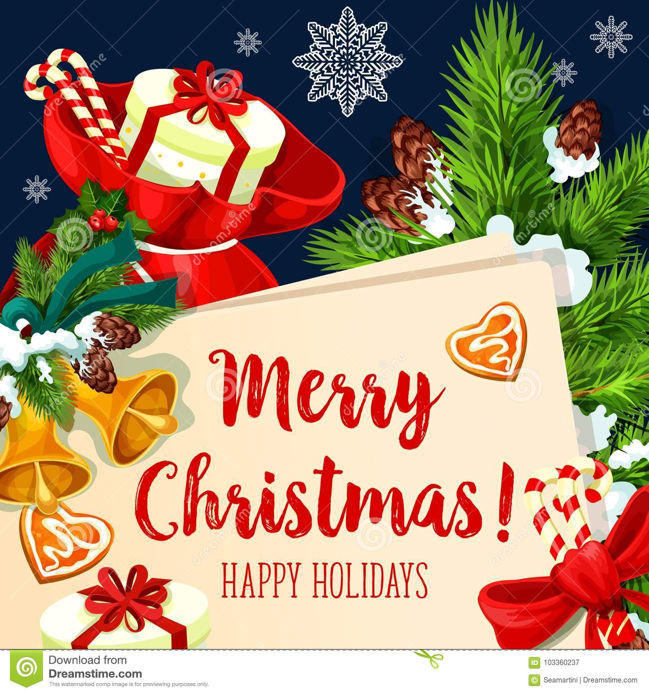 Merry Christmas Wishes Greeting Cards.Merry Christmas Holiday Vector Greeting Card Stock Vector