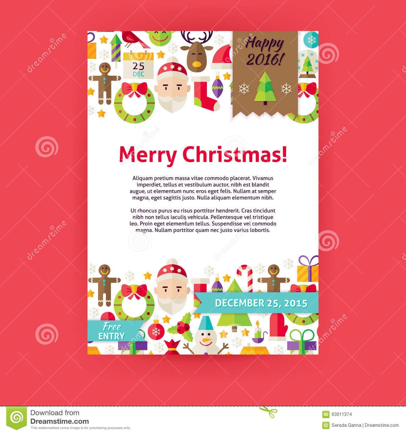 merry christmas holiday vector invitation template flyer stock vector image 63011374. Black Bedroom Furniture Sets. Home Design Ideas