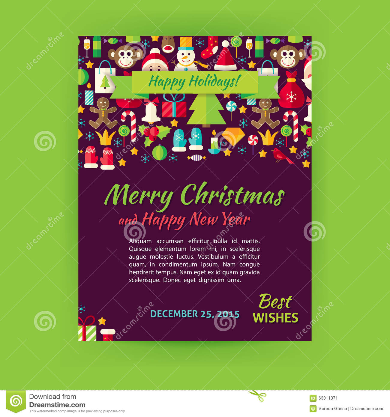 merry christmas vector party invitation template flyer set stock merry christmas holiday vector template banner flyer modern flat stock image