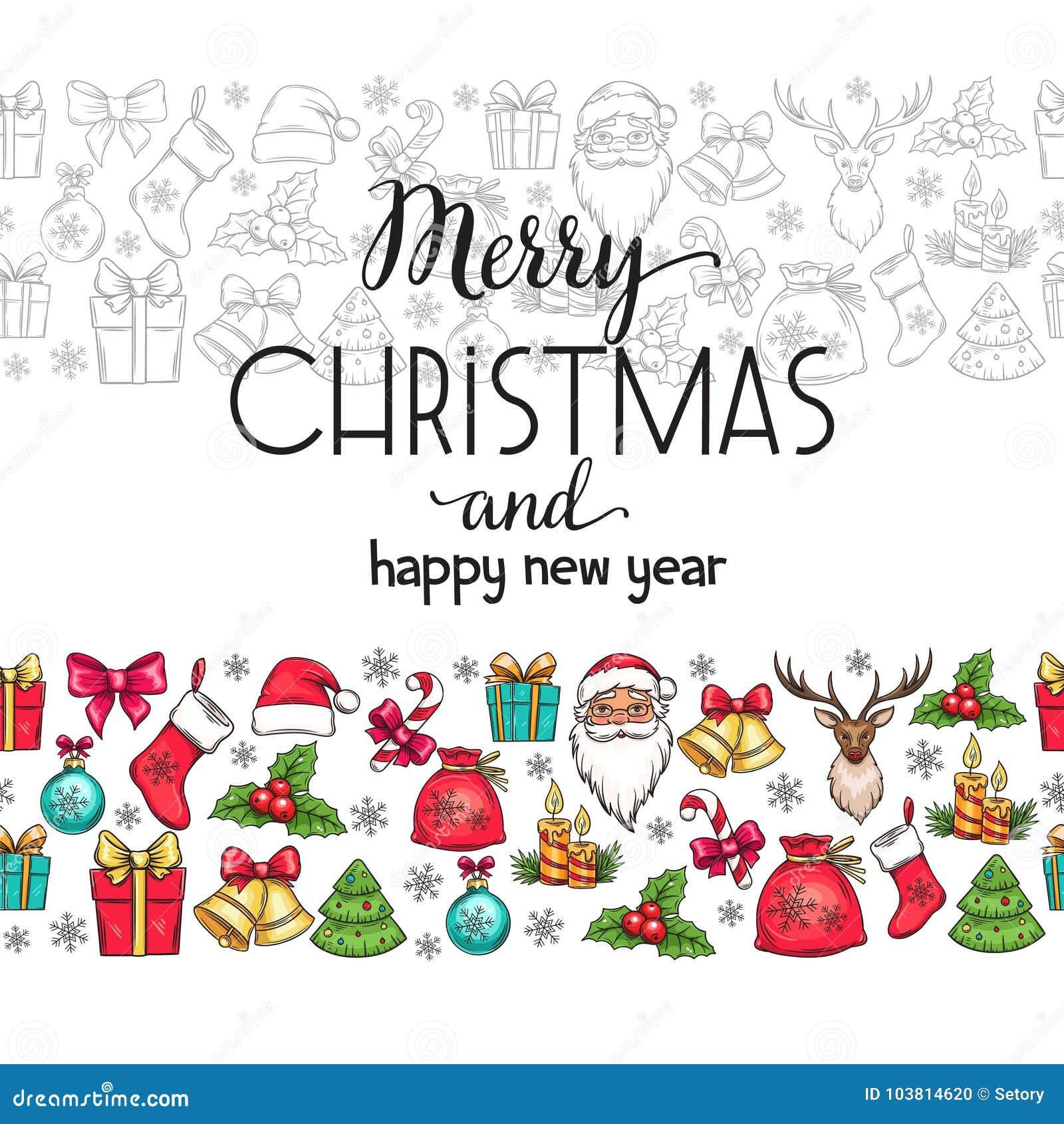Merry Christmas holidays seamless border with