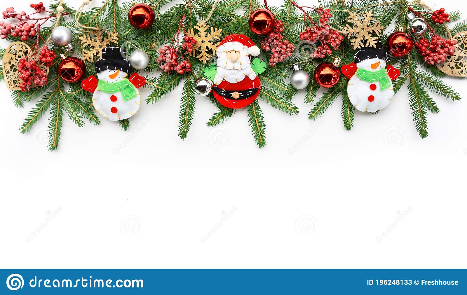Merry Christmas Horizontal Banner Christmas Garland Of Fir Branches Christmas Tree Decorations And Baubles Design Template For Stock Image Image Of Mock Noel 196248133