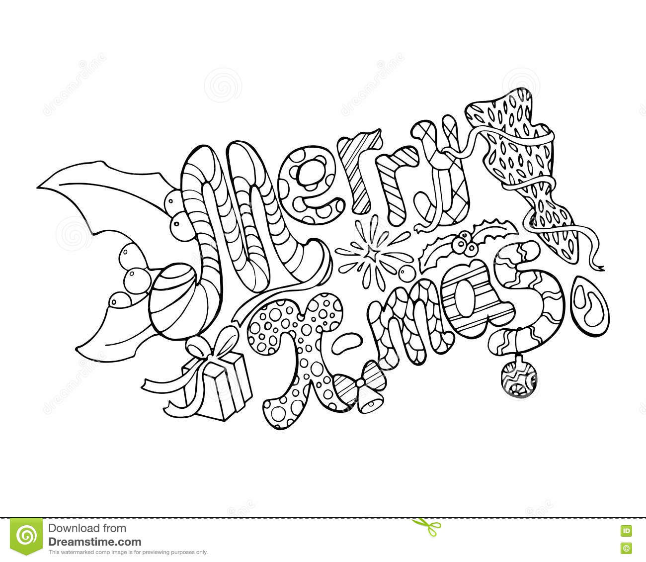 merry christmas illustration hand drawn lettering merry christmas coloring page