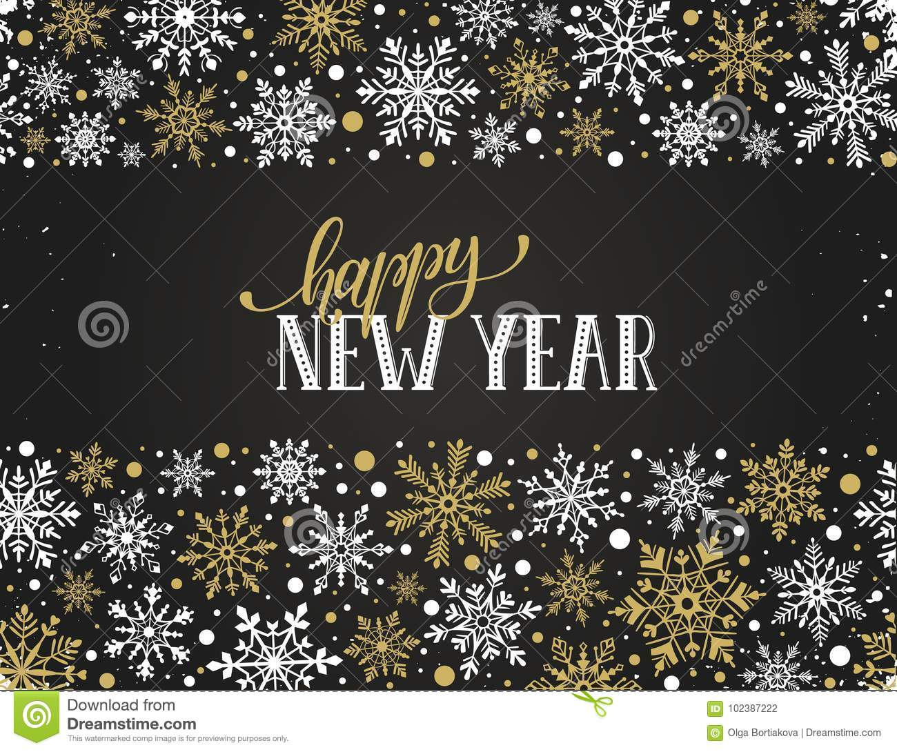 merry christmas illustration happy new year greeting card template modern winter lettering snowflakes horizontal frame 102387222jpg