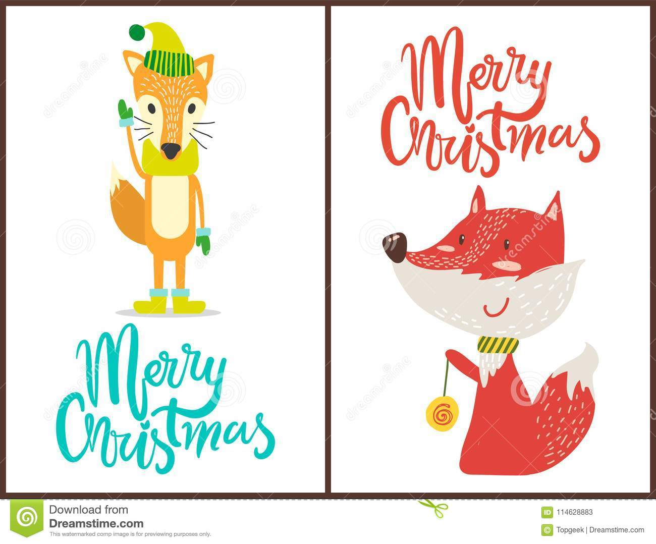 Merry Christmas Fox Set On Vector Illustration Stock Vector ...