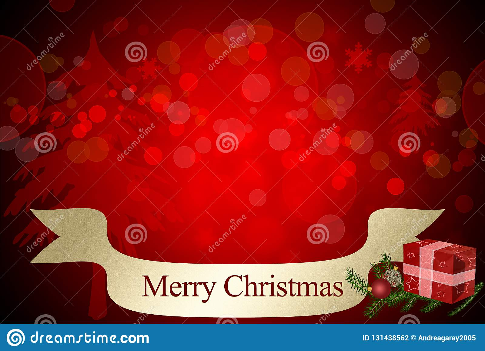 Merry Christmas Invitation Card With Bokeh Red Background