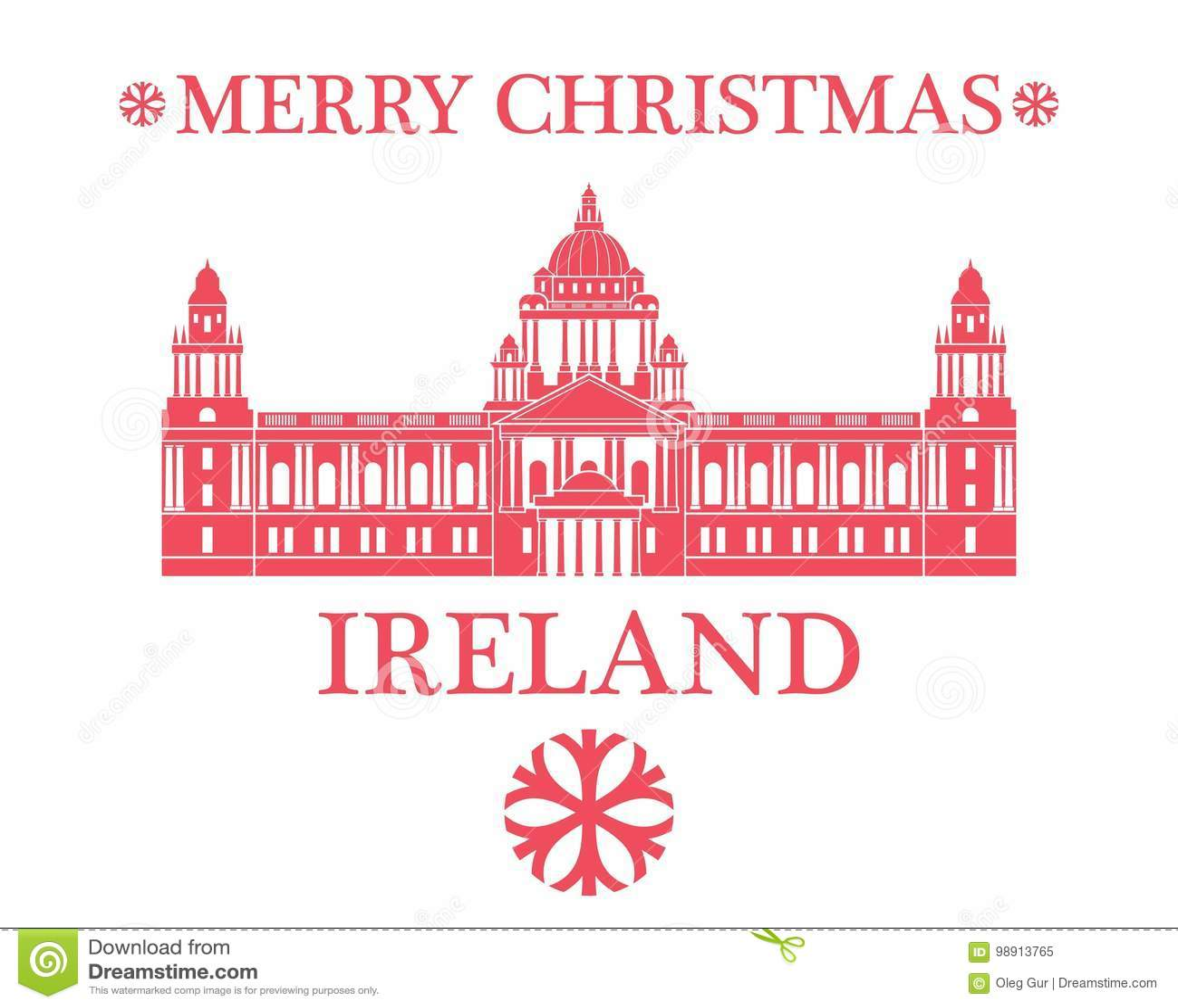 Merry Christmas Ireland stock vector. Illustration of dublin - 98913765