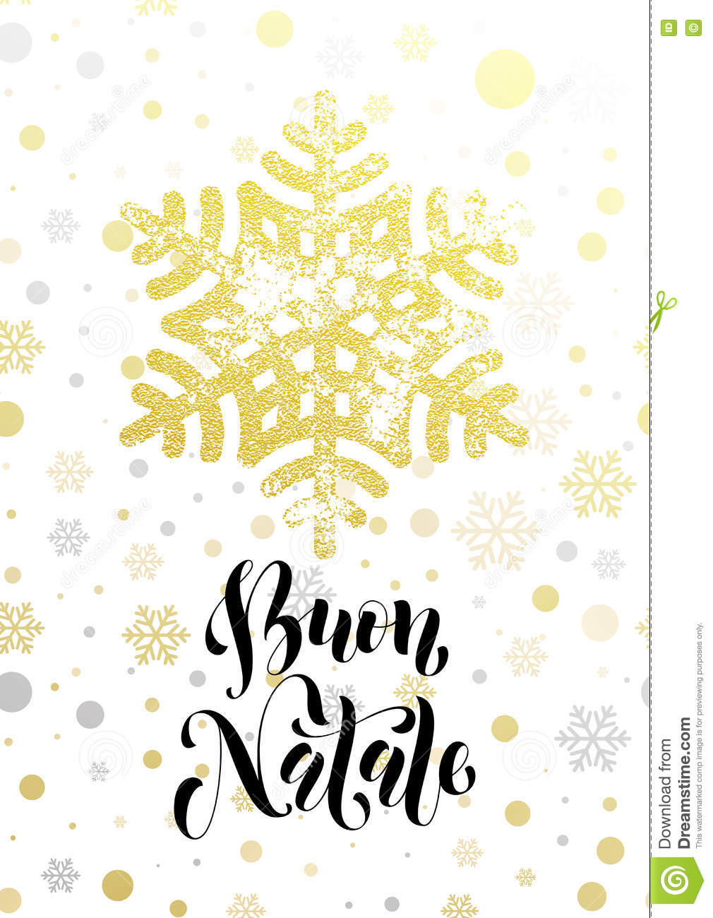 Buon Natale Glitter.Merry Christmas Italian Buon Natale Greeting Card Golden Glitter Snowflake Stock Vector Illustration Of Lettering Golden 82391161