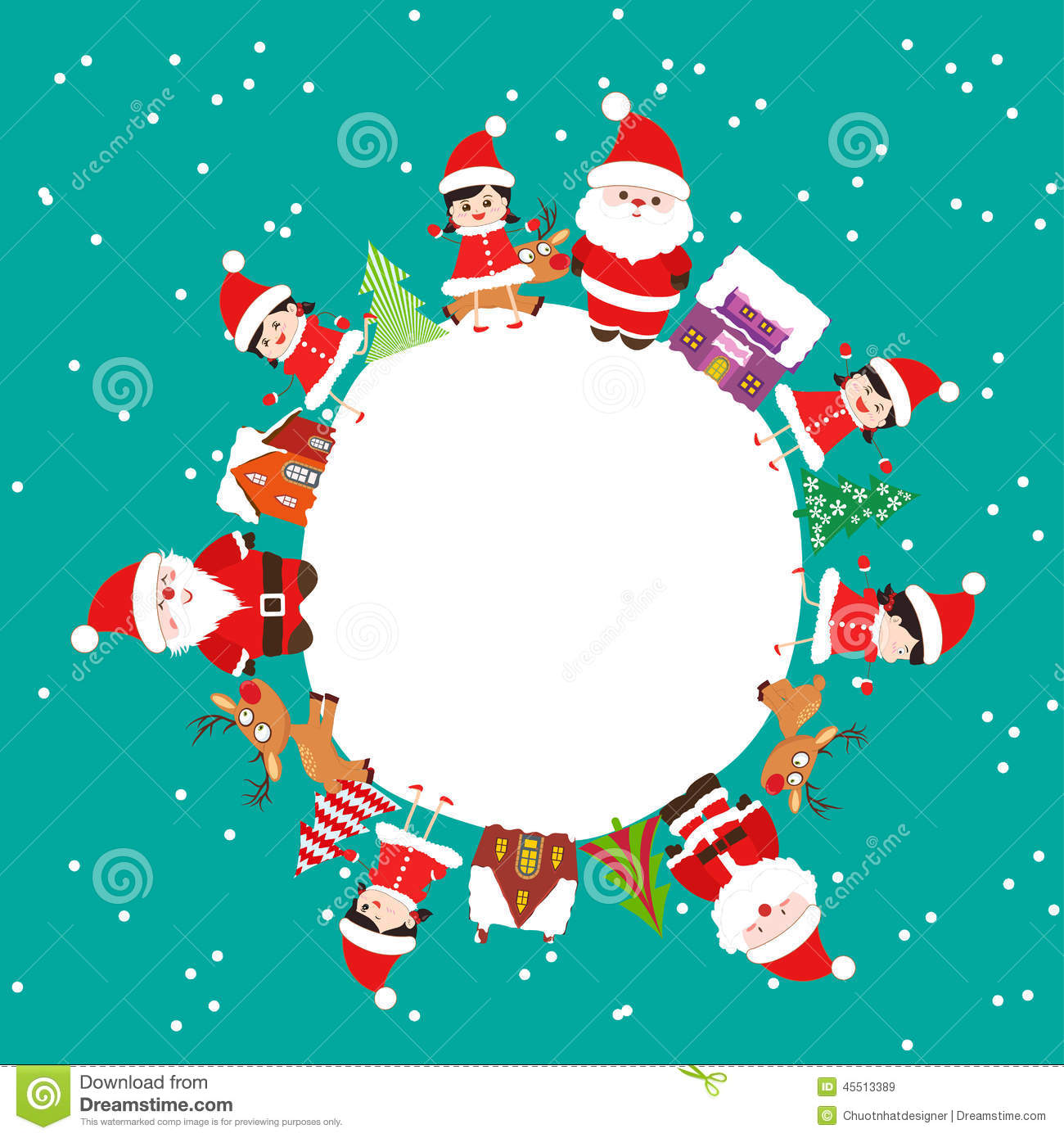 Merry Christmas With Kids And Element On Earth Stock Vector ...