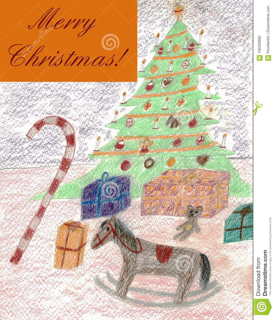 Merry Christmas! - Colored Pencil Drawing Stock Vector ...