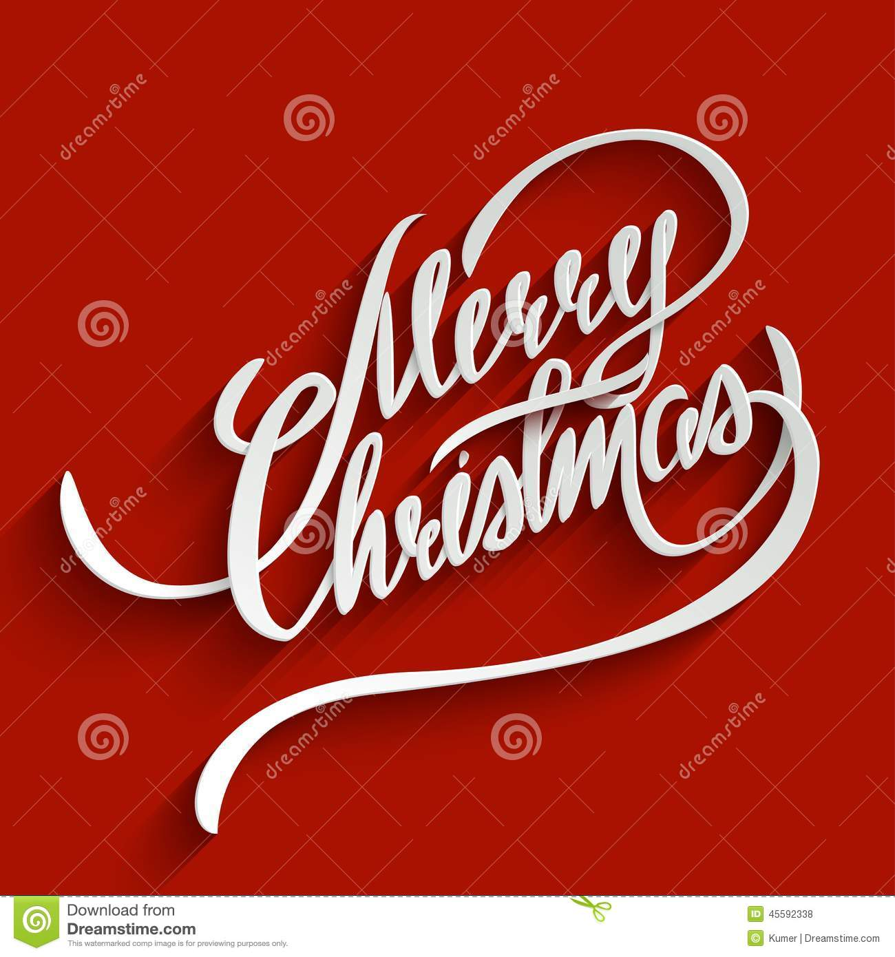 Merry Christmas Lettering Greeting Card Stock Vector Illustration