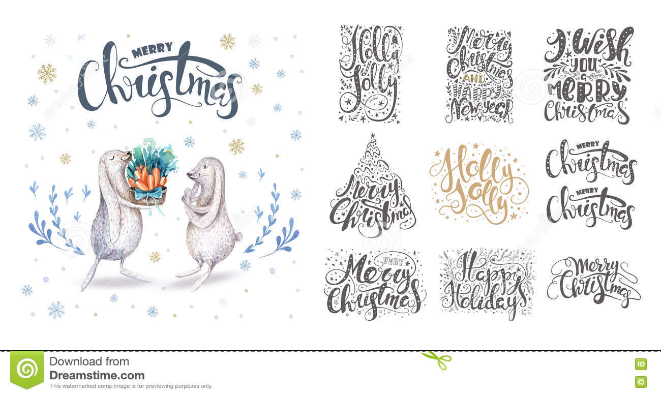 Merry christmas lettering over with snowflakes and bunnies. Hand