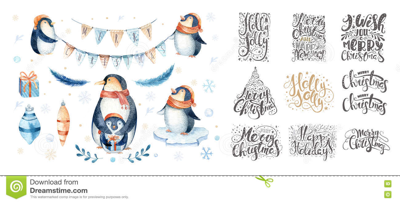 Merry Christmas Lettering Over With Snowflakes And Penguins. Han ...