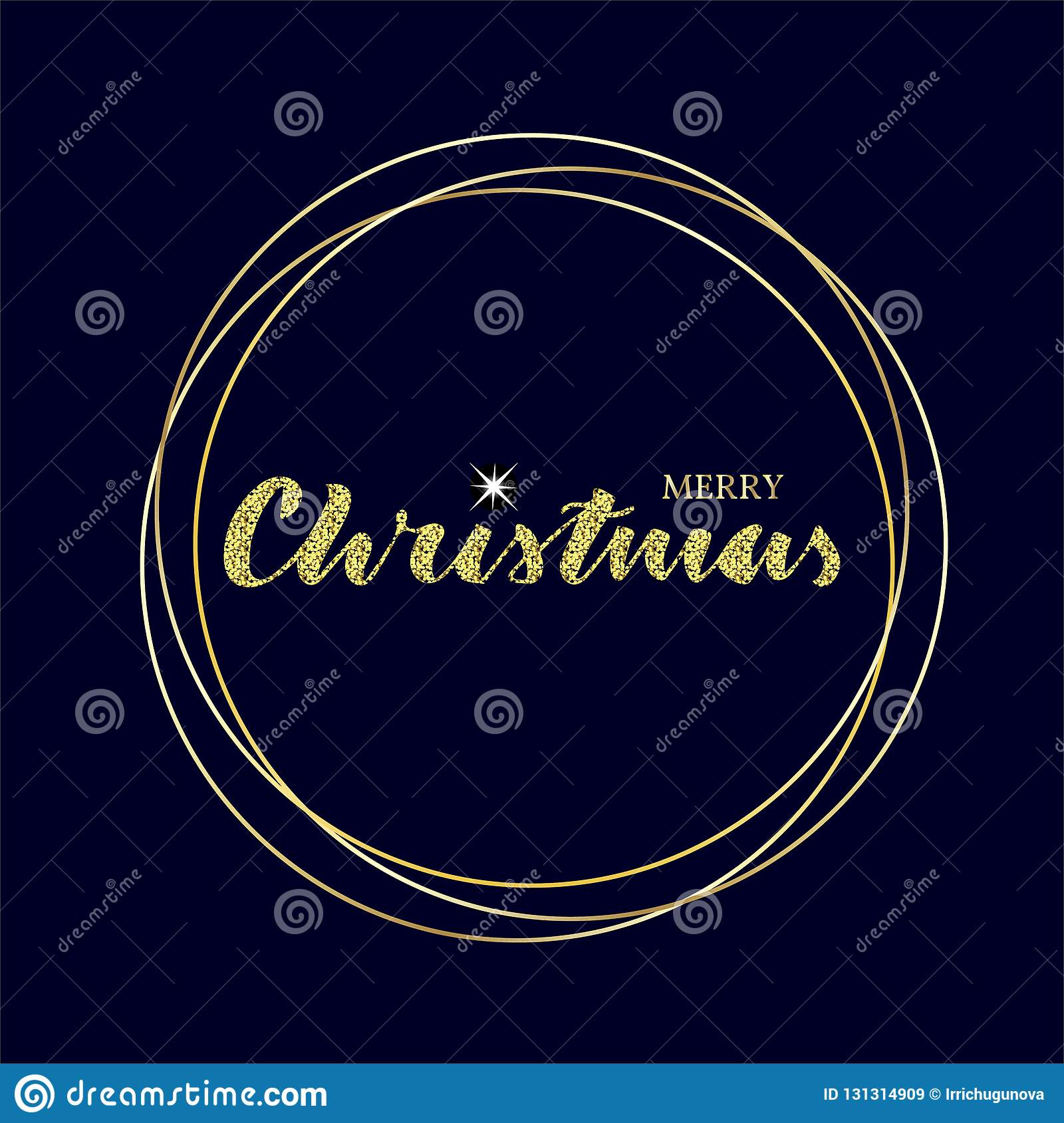 Merry christmas lettering with sparkle star and golden circles