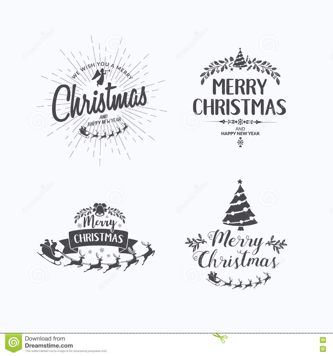 Merry Christmas Lettering Typography. Handwriting Text Design Wi ...