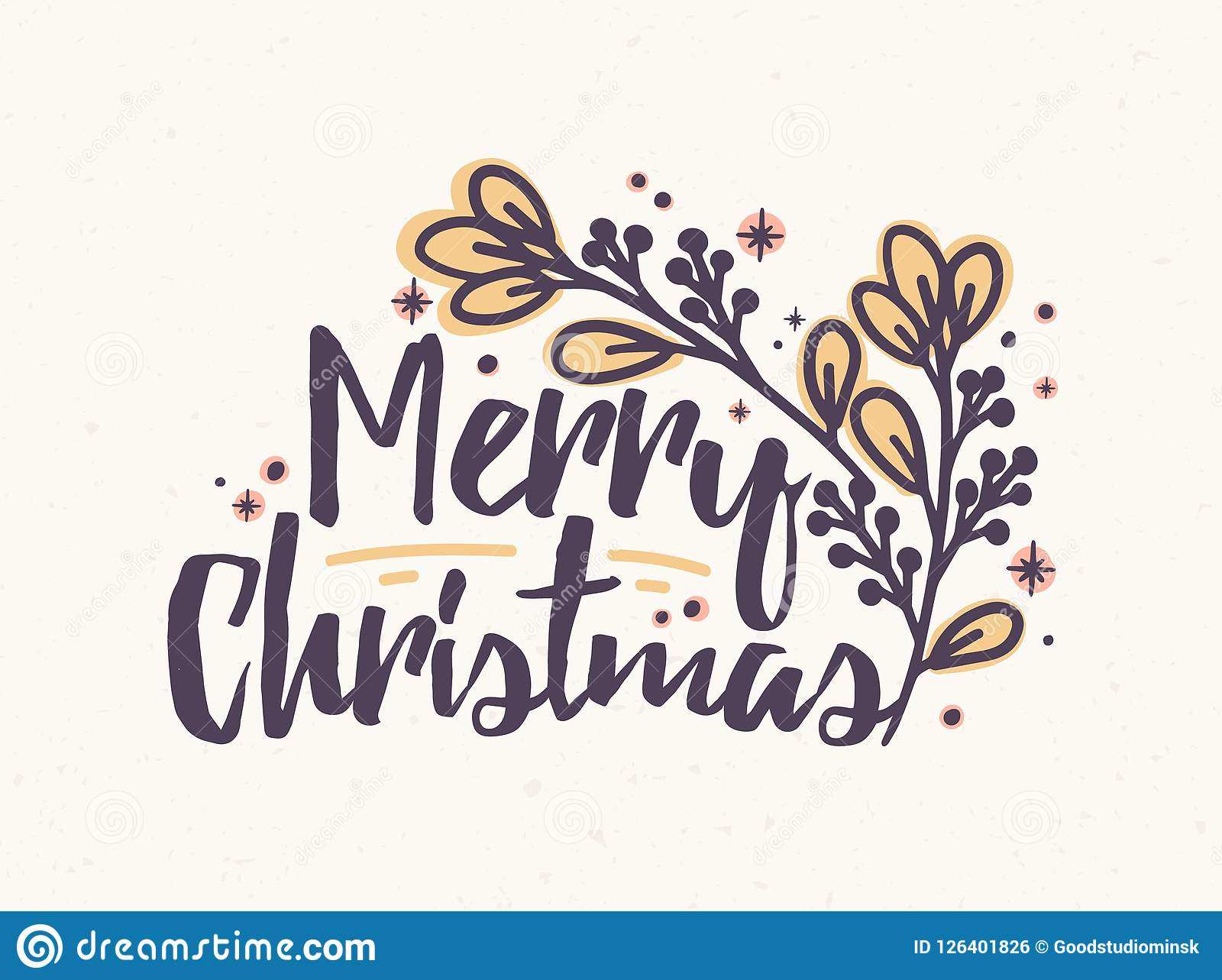 Merry Christmas In Cursive.Merry Christmas Lettering Written With Elegant Cursive