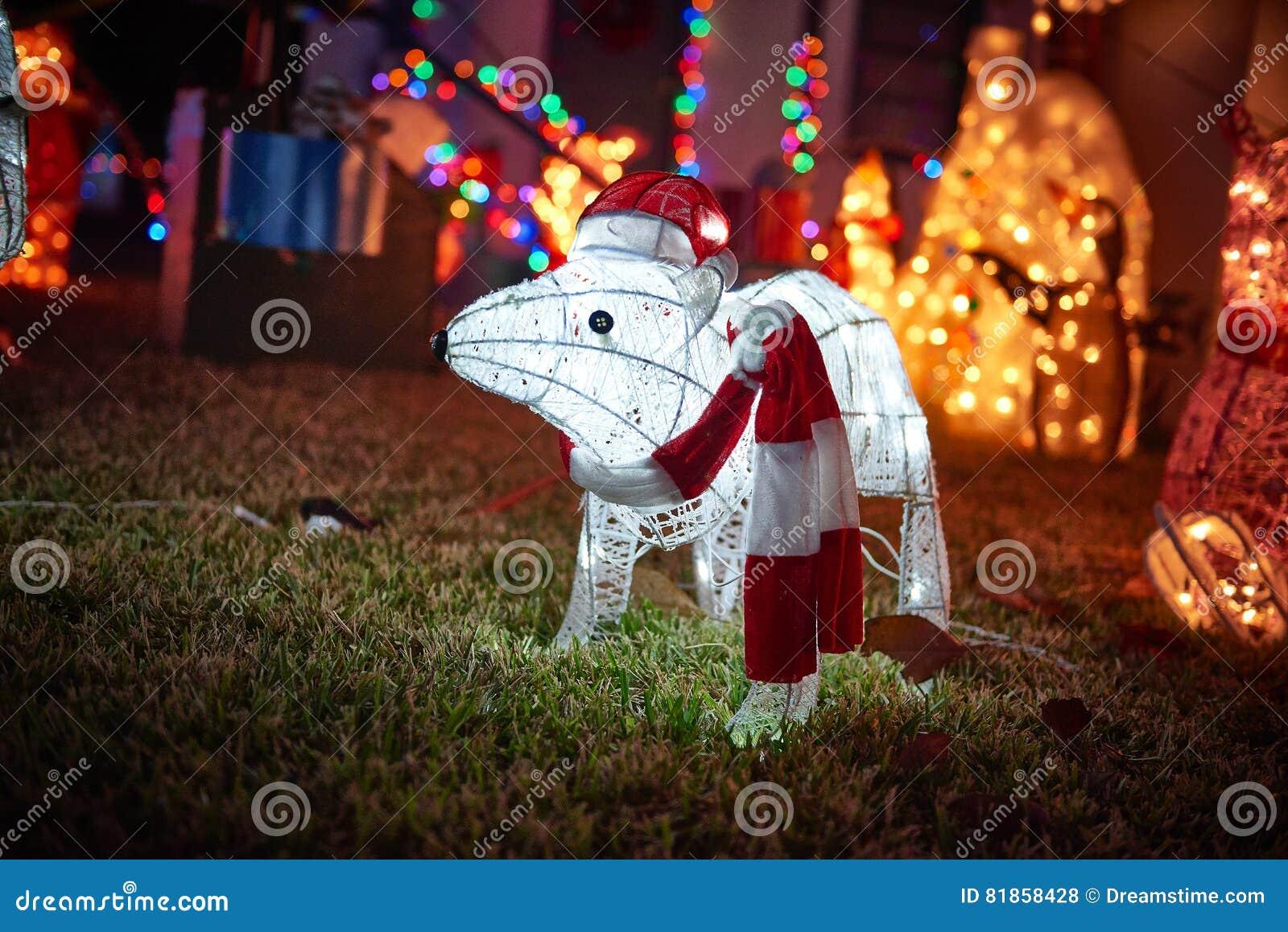 Merry christmas lights animals