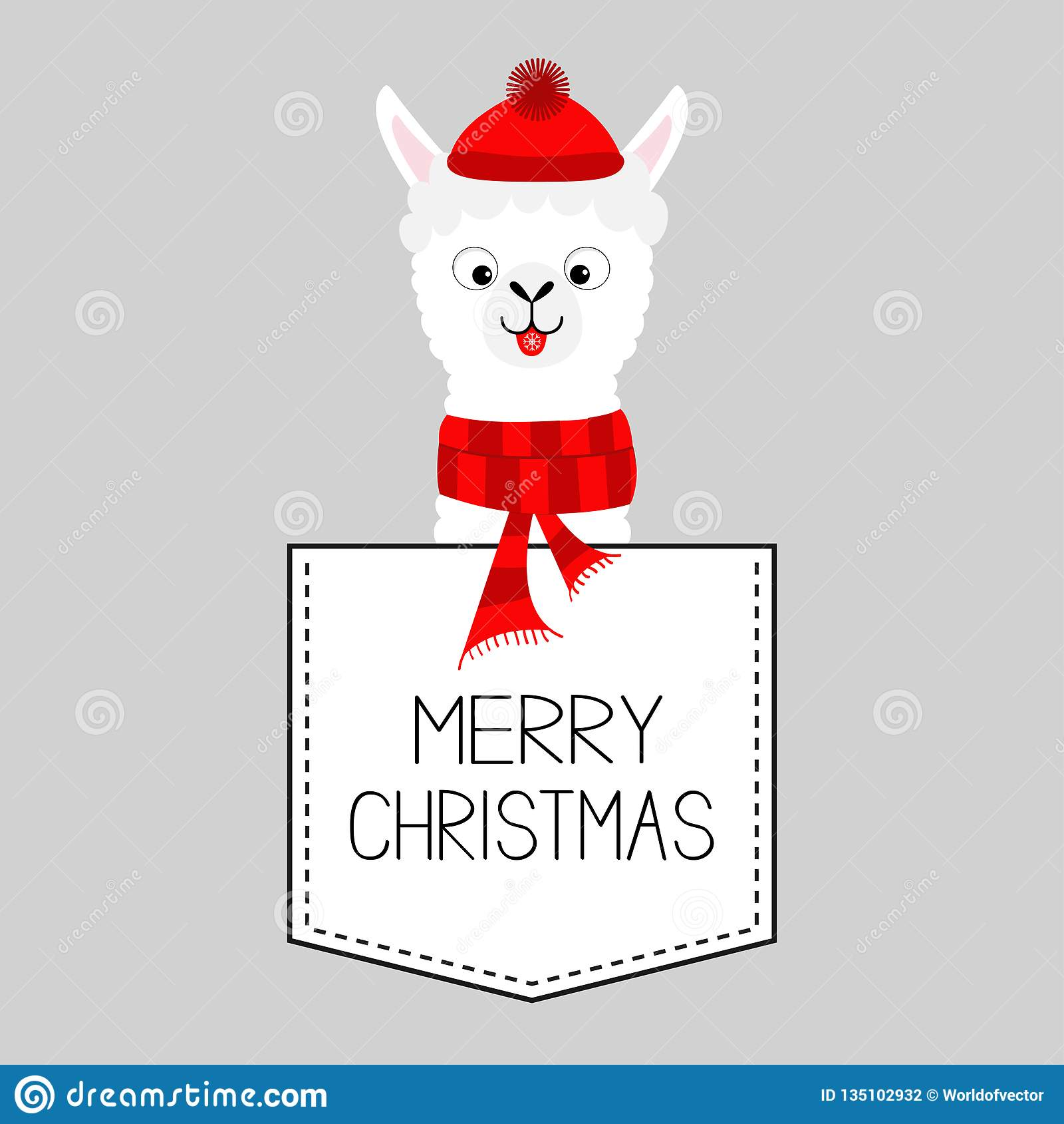 9f79e966a02023 Merry Christmas. LLama alpaca animal. Dash line. Kawaii character. White  and black color. T-shirt design. Baby gray background.