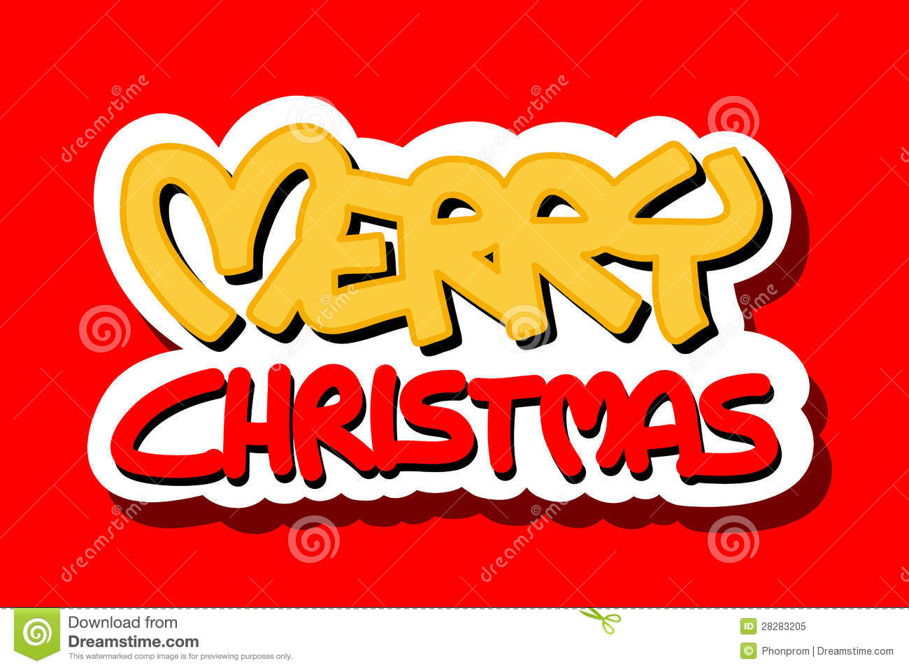 Merry Christmas logo on red background