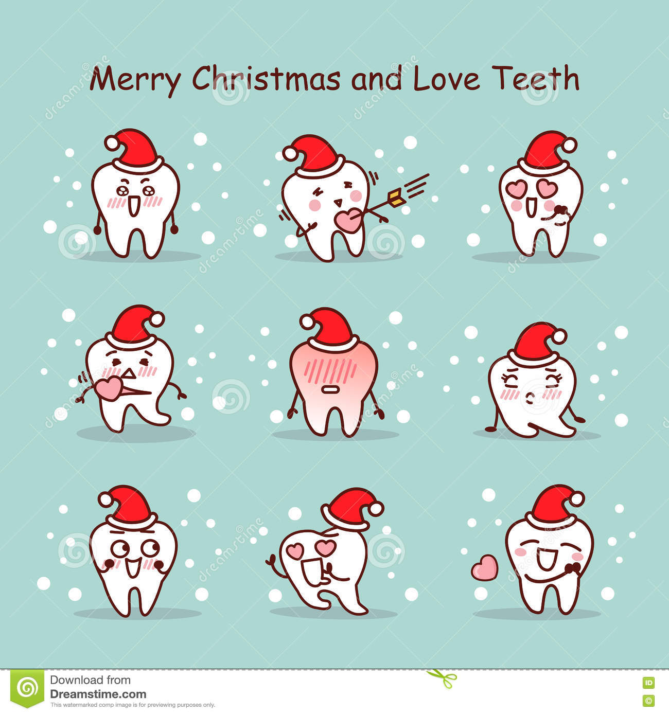 Merry Christmas And Love Teeth Stock Vector - Illustration of ...