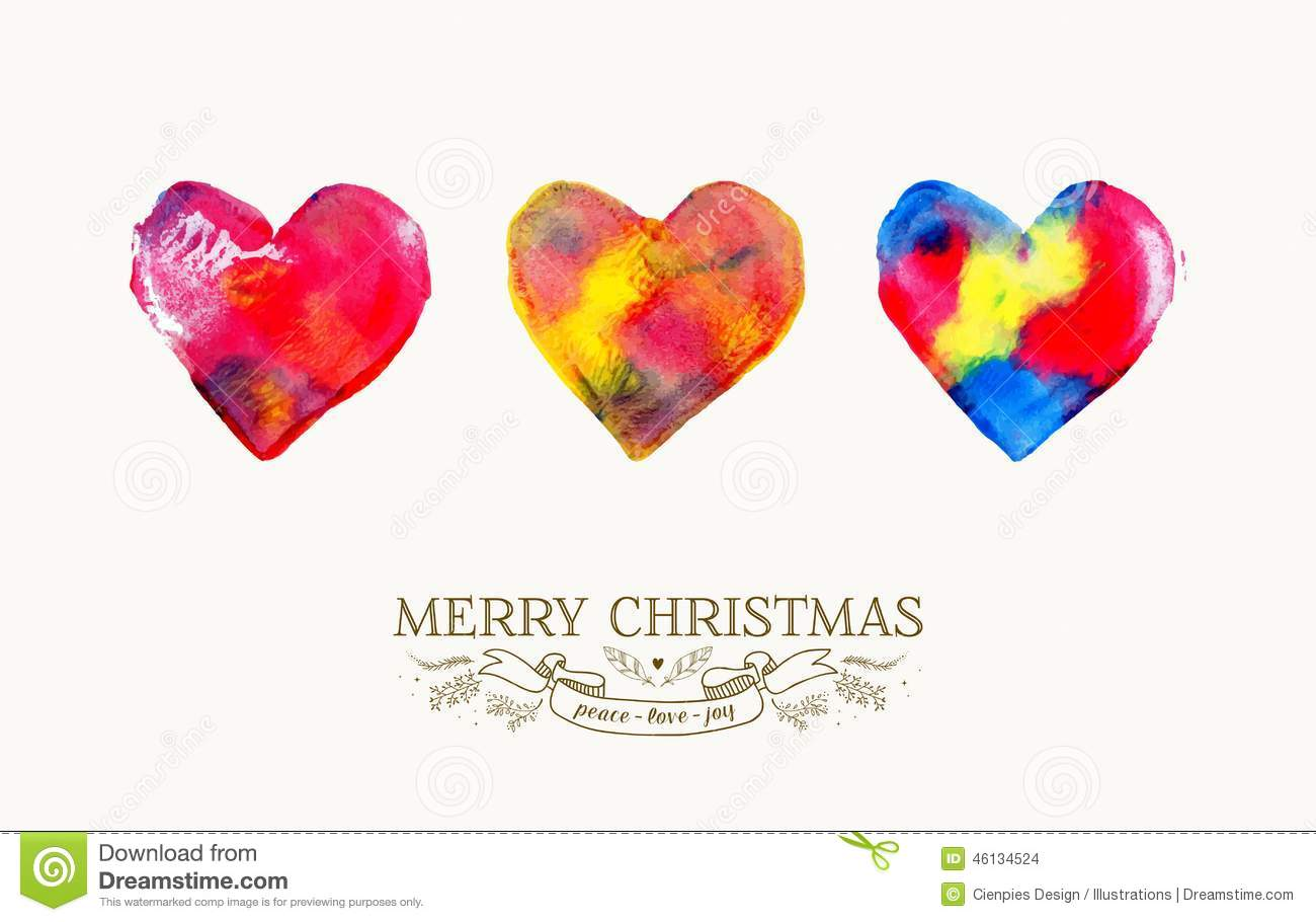 Merry Christmas Love Watercolor Vintage Card Stock Vector