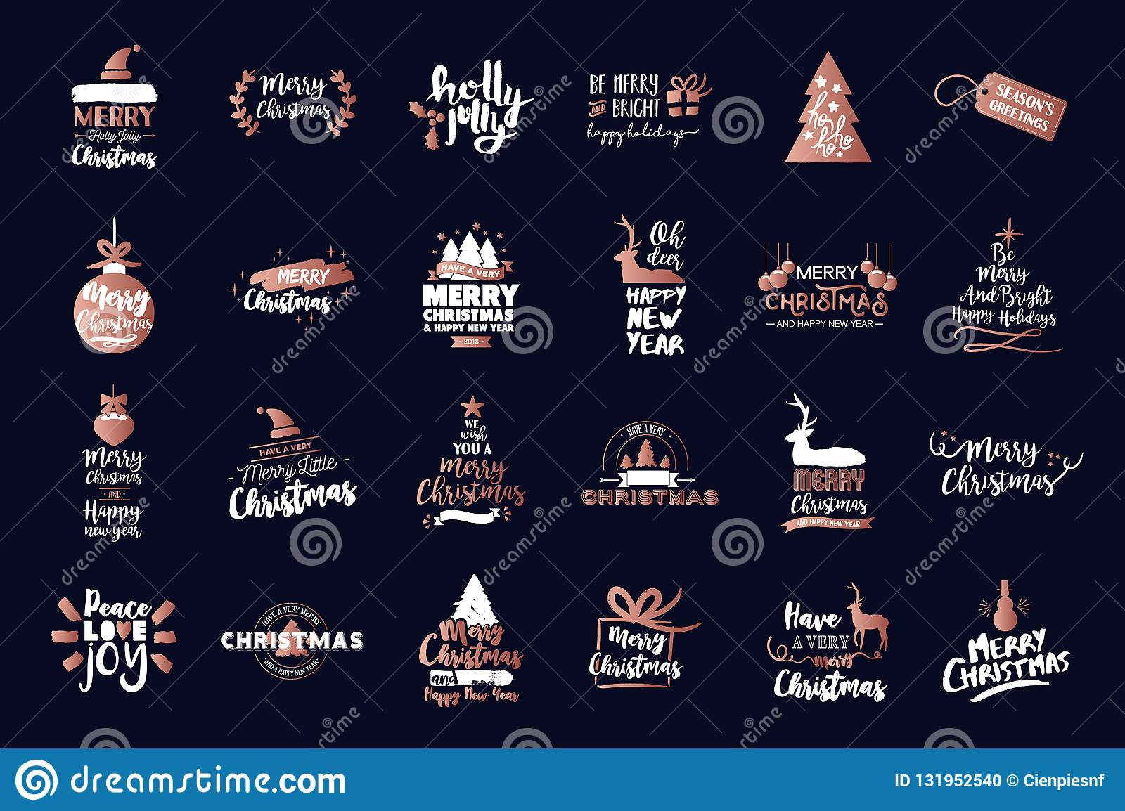 Merry Christmas luxury copper text quote set