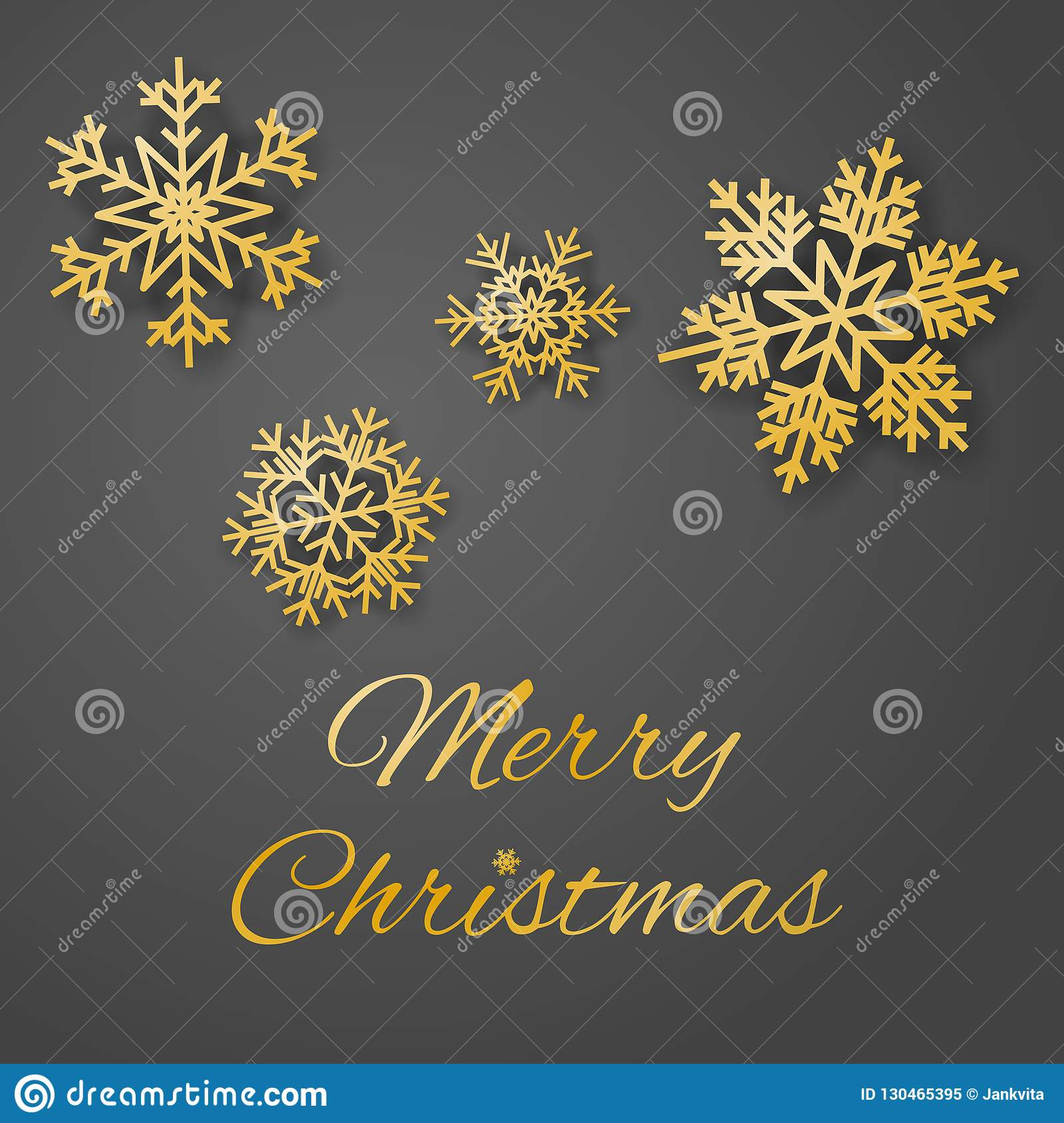 Merry Christmas luxury greeting card vector with sumptuous gold colored snowflakes on gray background