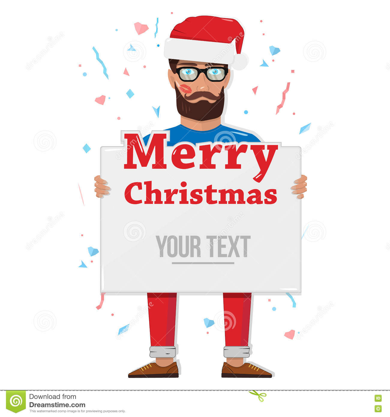 merry christmas man the board stock vector image  merry christmas man the board