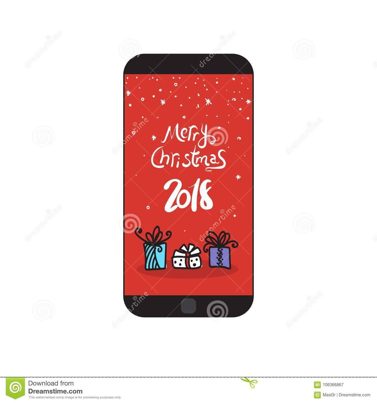 Merry Christmas 2018 Message On Modern Cell Smart Phone Holiday