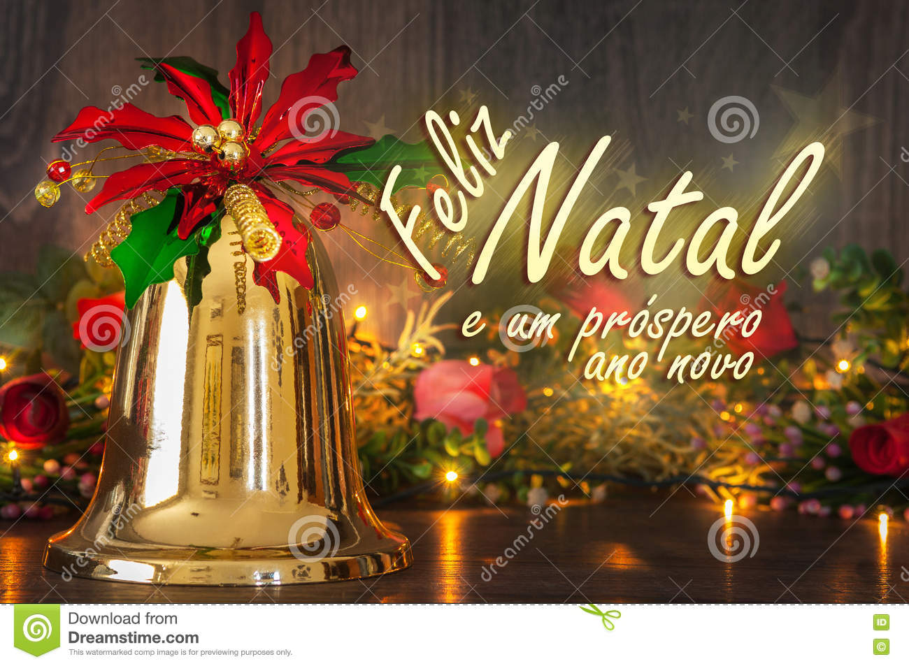 Merry Christmas Message In Portuguese. Bell, Flowes And Lights On ...