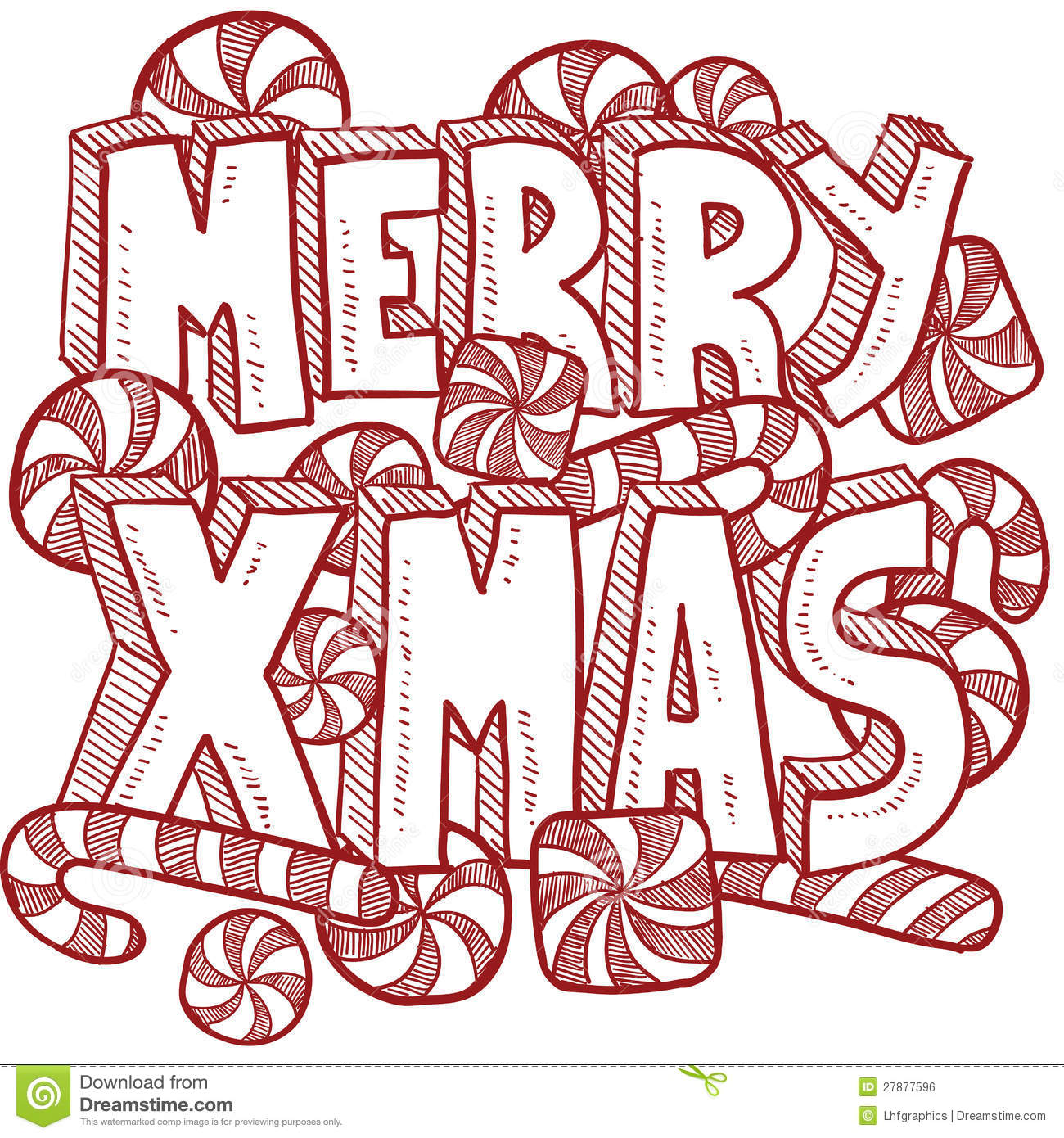 Merry Christmas Message Vector Stock Vector - Illustration of sketch ...