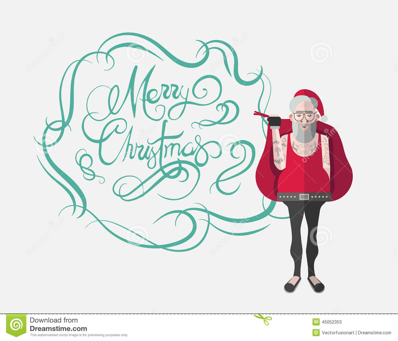 merry christmas message vector in cursive green with hipster santa