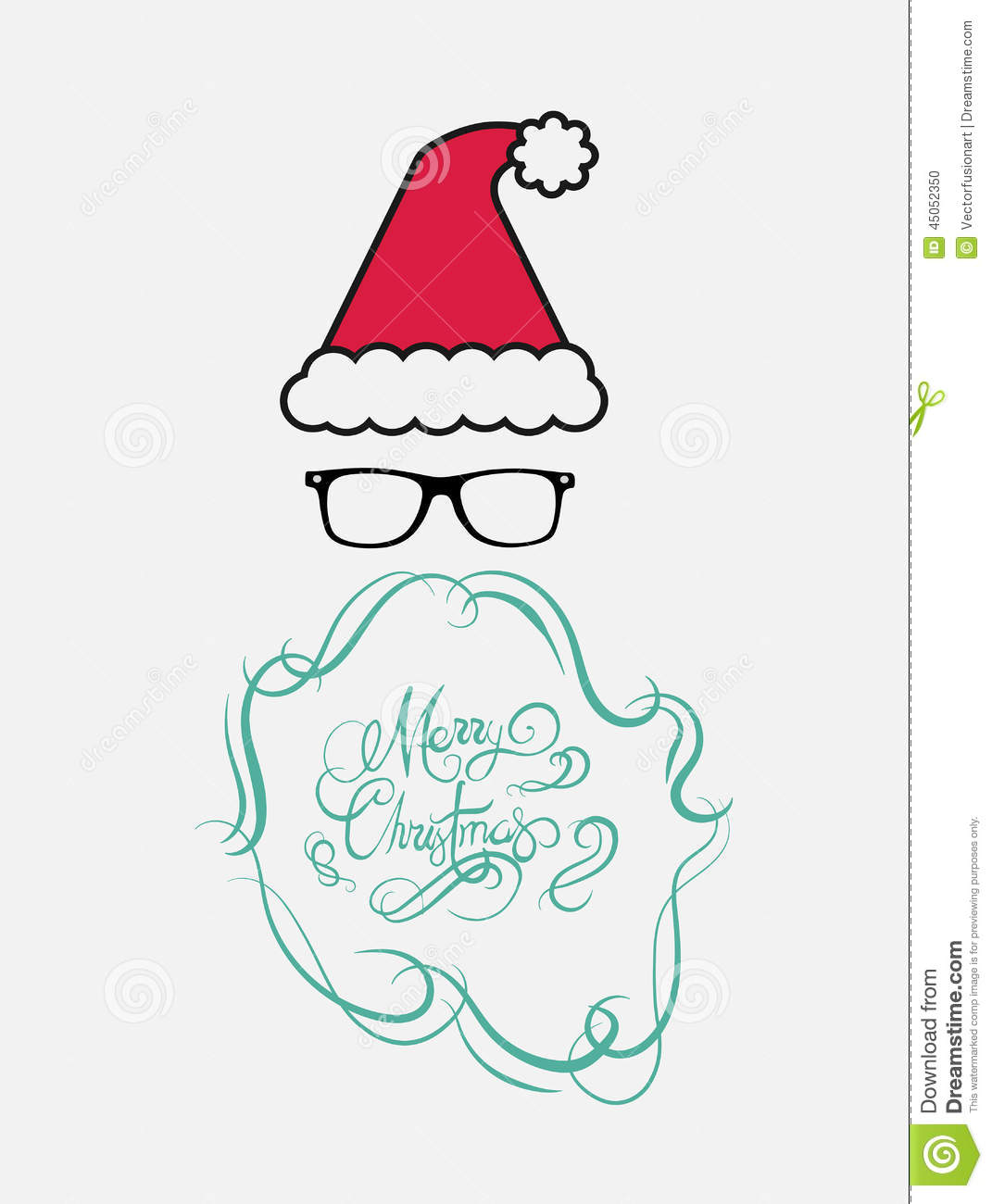 download merry christmas message vector in cursive green with santa hat stock vector illustration of