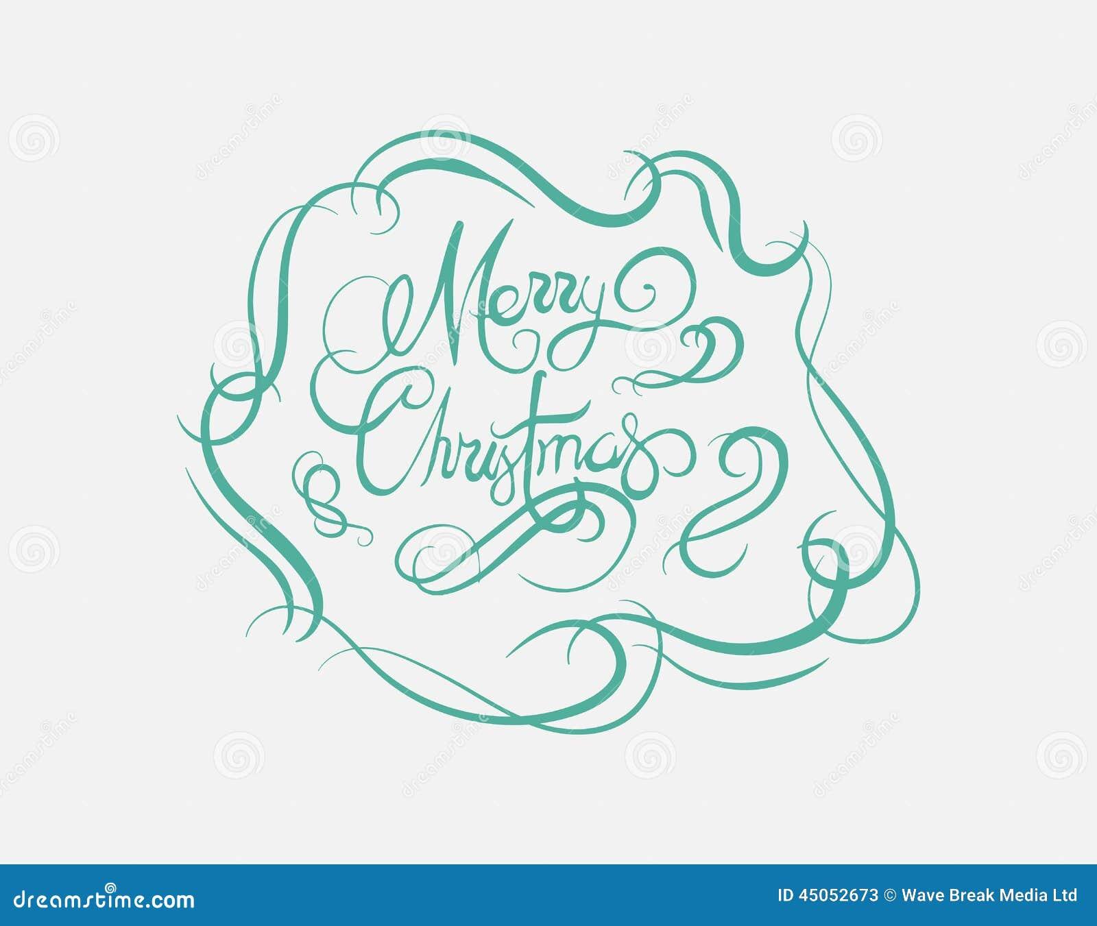 download merry christmas message vector in cursive green stock vector illustration of illustration festivity