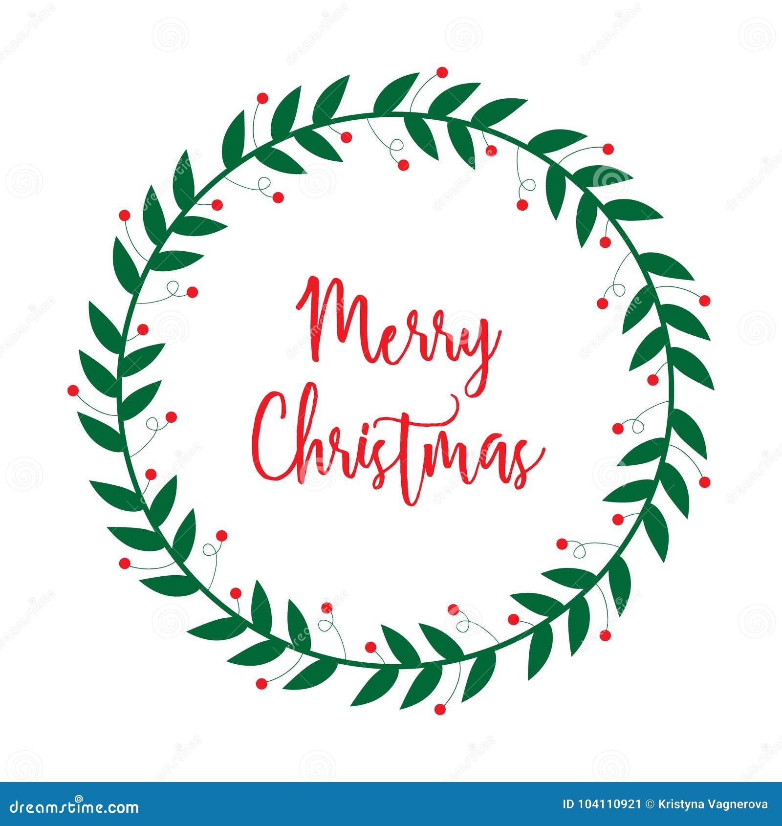 merry christmas mistletoe wreath vector stock vector illustration