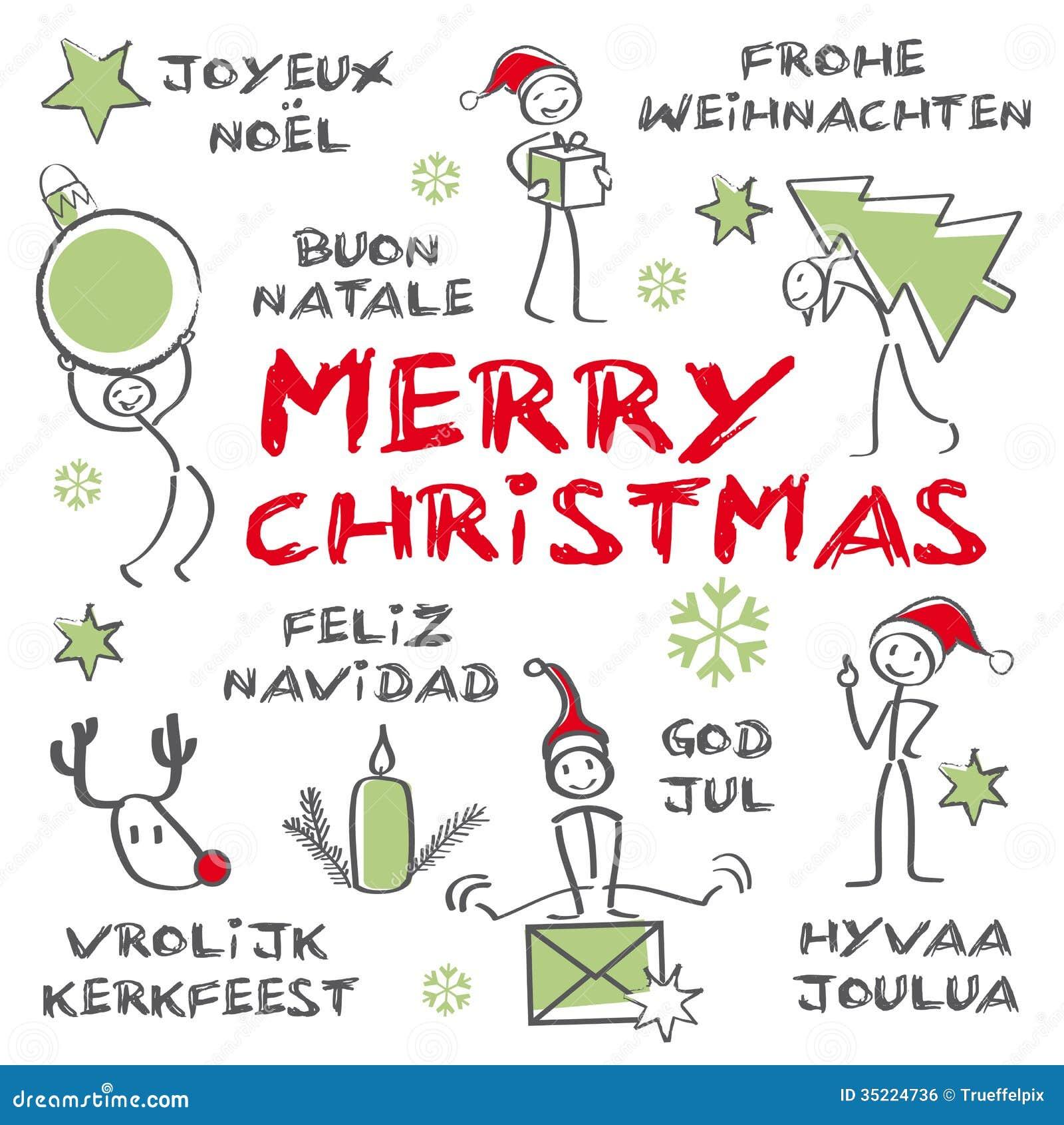 Merry Christmas, Multilingual Christmas Card Stock Illustration ...