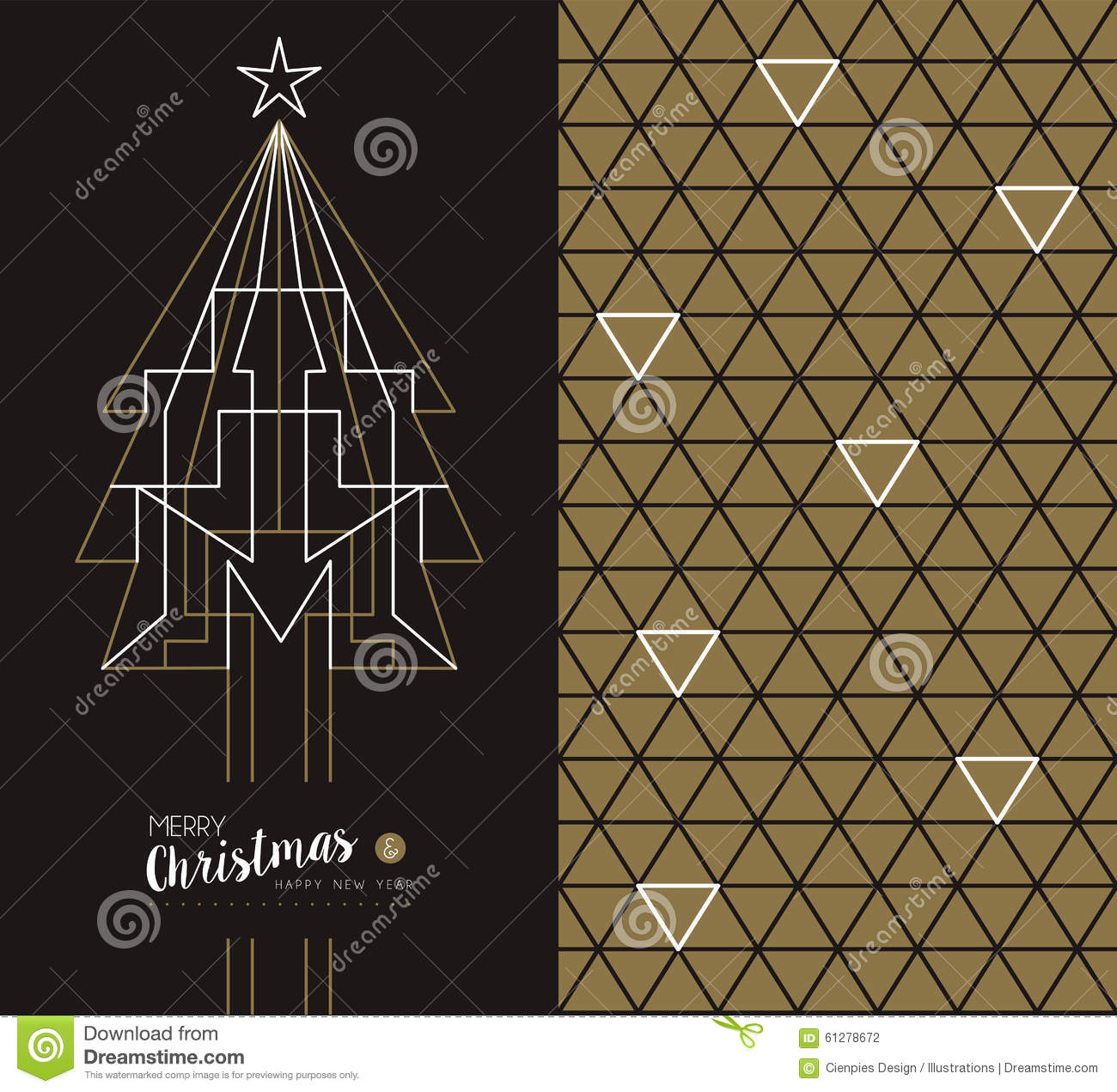 merry christmas new year art deco set holiday card
